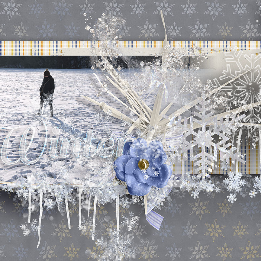"""Winter"" #digitalscrapbooking layout by AFT Designs - Amanda Fraijo-Tobin using ""Winter Fantasy Whisps"" embellishments 