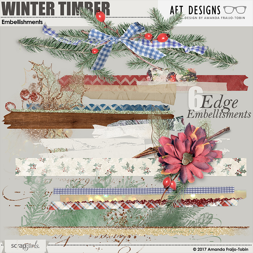 Winter Timber #digitalscrapbooking Edge Cluster Embellishments by AFT designs   AFTdesigns.net