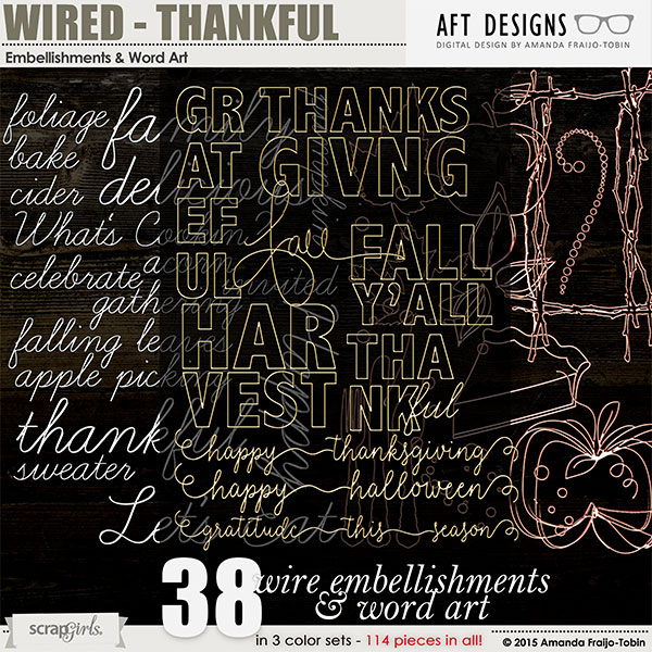 Wired - Thankful #digitalscrapbooking Embellishments and Word Art