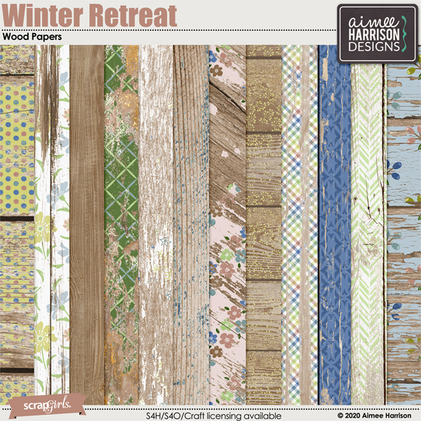 Winter Retreat Wood Papers