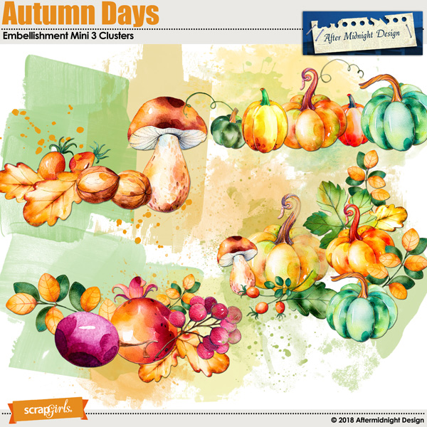 Autumn Days Embellishment Mini 3 Clusters by Aftermidnight Design