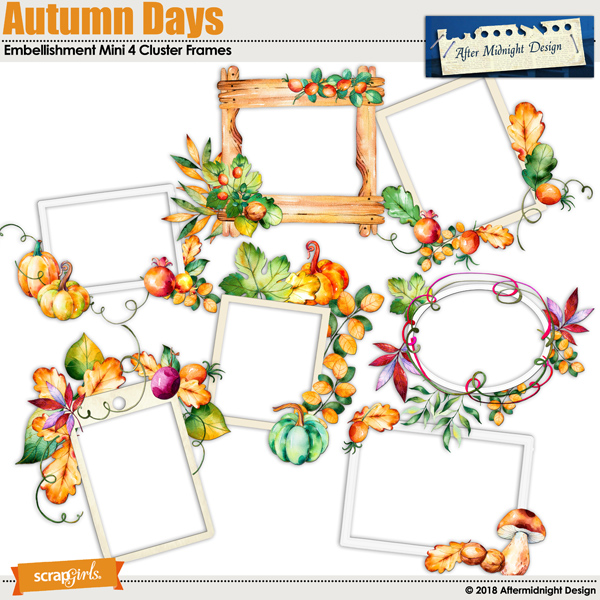 Autumn Days Embellishment Mini 4 Cluster Frames by Aftermidnight Design