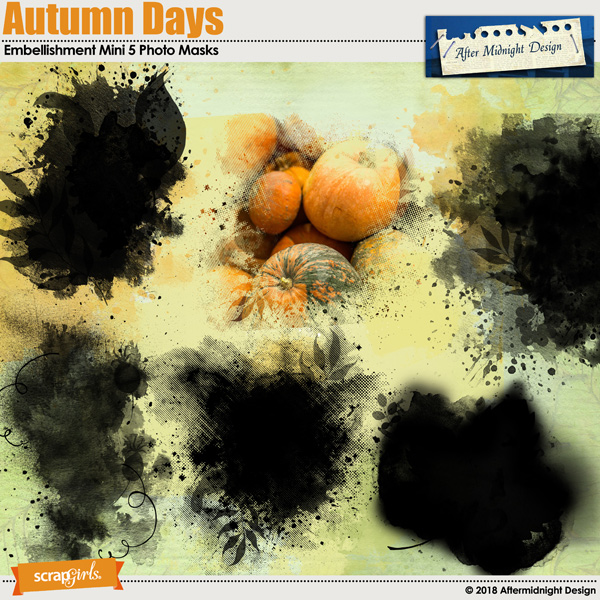 Autumn Days Embellishments Mini 5 Photo Masks by Aftermidnight Design