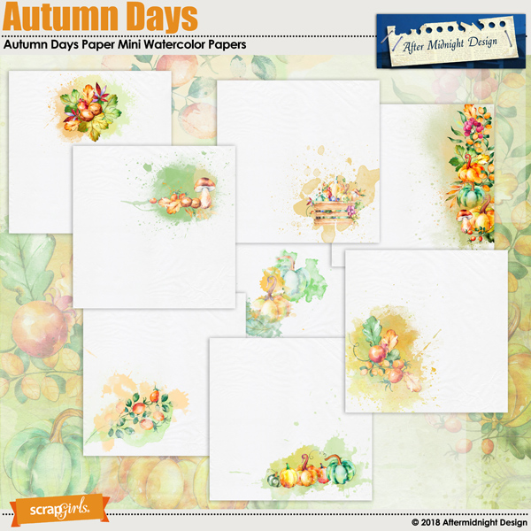 Autumn Days Paper Mini Watercolor Papers by Aftermidnight Design