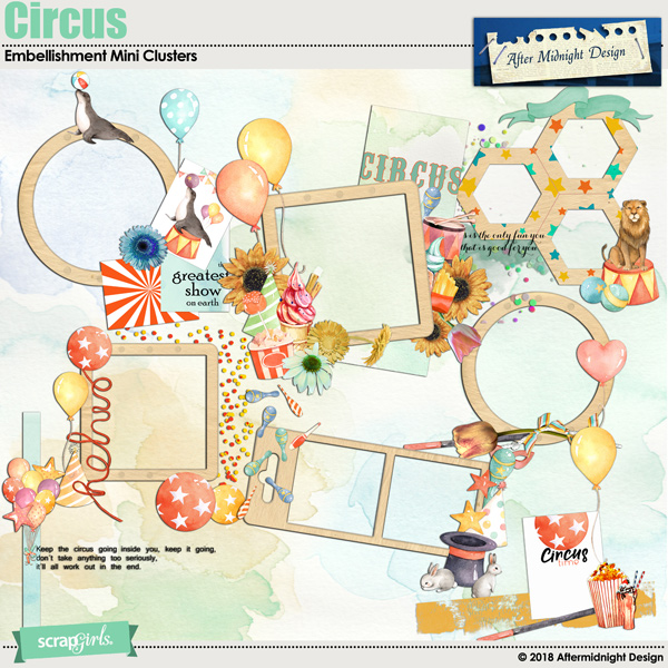 Circus Embellishment Mini Clusters by Aftermidnight Design
