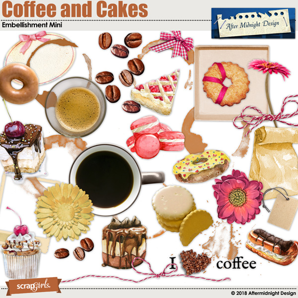 Coffe and Cakes Embellishment Mini by Aftermidnight Design