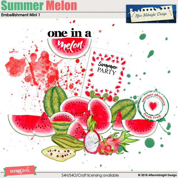 Summer Melon Embellishment Mini 1 by Aftermidnight Design