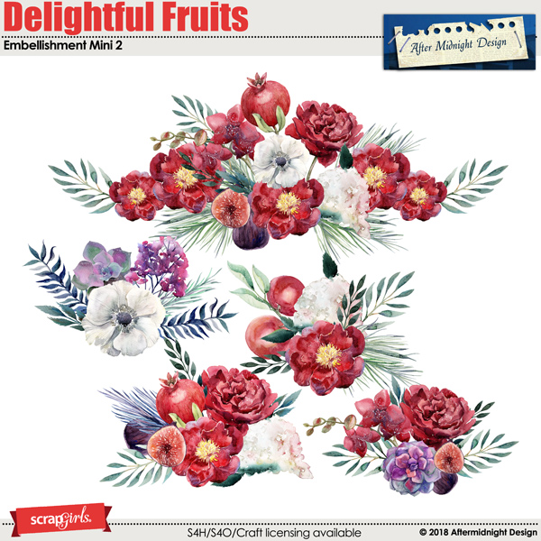 Delightful Fruits embellishment Mini 2 by Aftermidnight Design