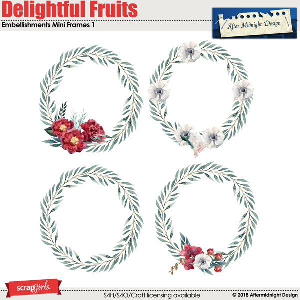 Delightful Fruits Embellishment Mini Frames 1 by Aftermidnight Design