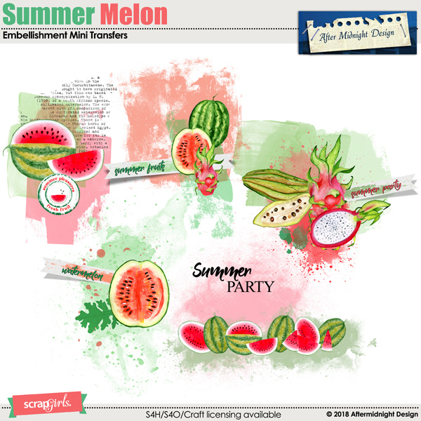 Summer Melon Embellishment Mini Transfers by Aftermidnight Design