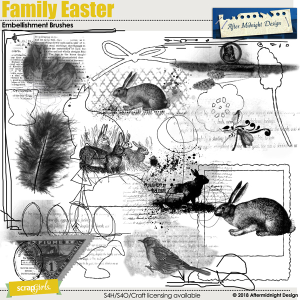 Family Easter Embellishments Brushes by Aftermidnight Design