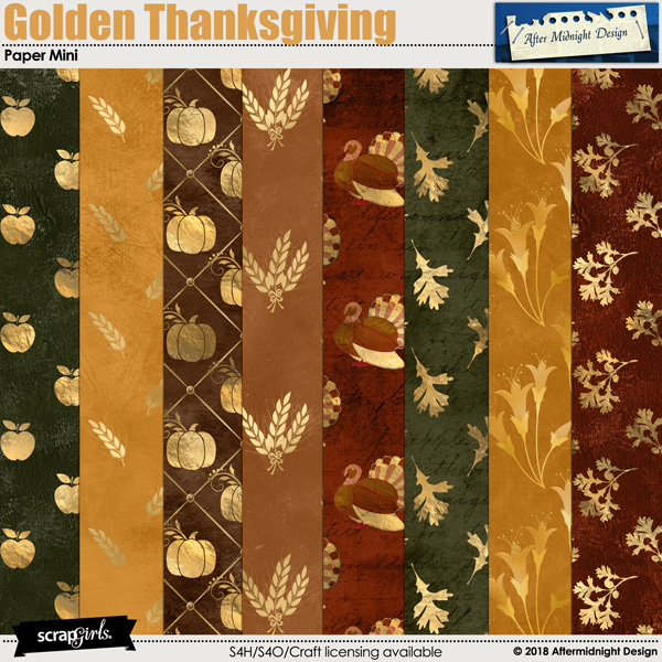 Golden Thanksgiving Paper Mini by Aftermidnight Design