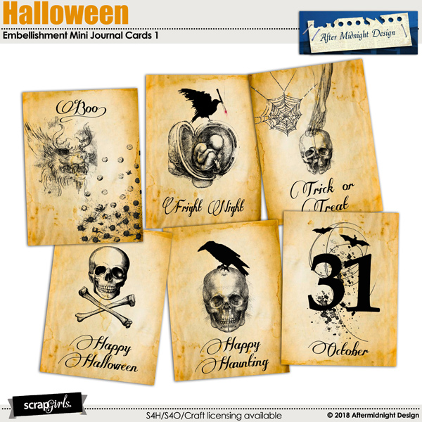 Halloween Journal Cards 1 by Aftermidnight Design