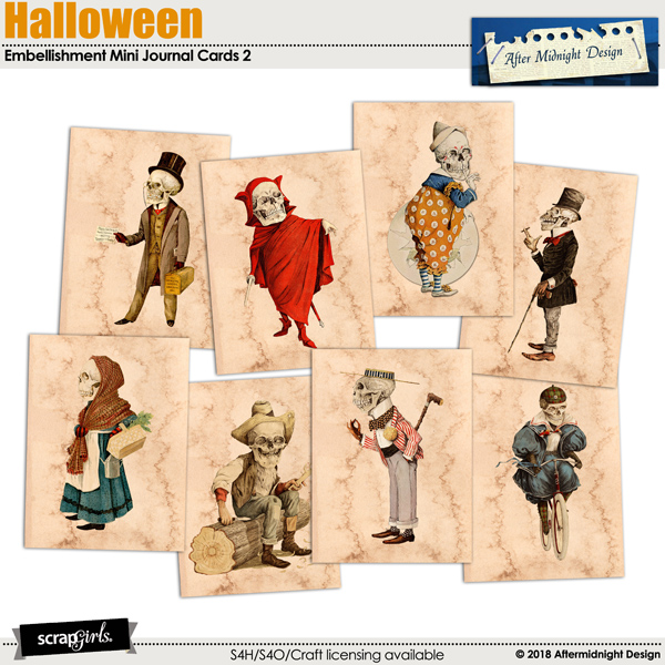 Halloween Journal Cards 2 by Aftermidnight Design