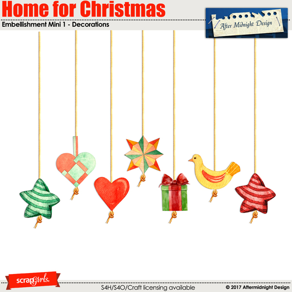 Home for Christmas embellishment Mini 1 by Aftermidnight Design