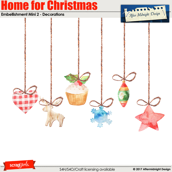 Home for Christmas Embellishment Mini 2 by Aftermidnight Design