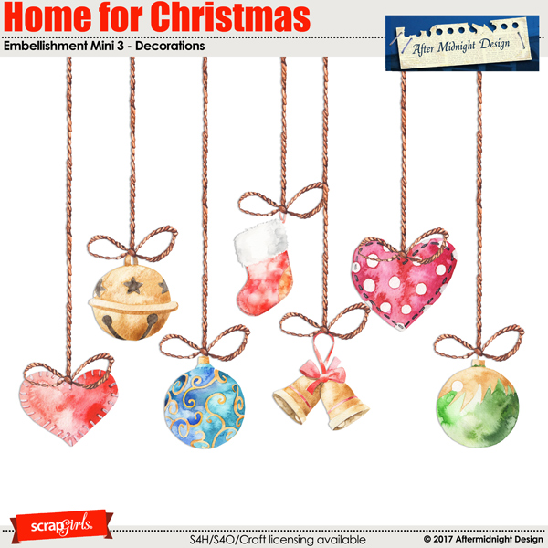 Home for Christmas Embellishment Mini 3 by Aftermidnight Design