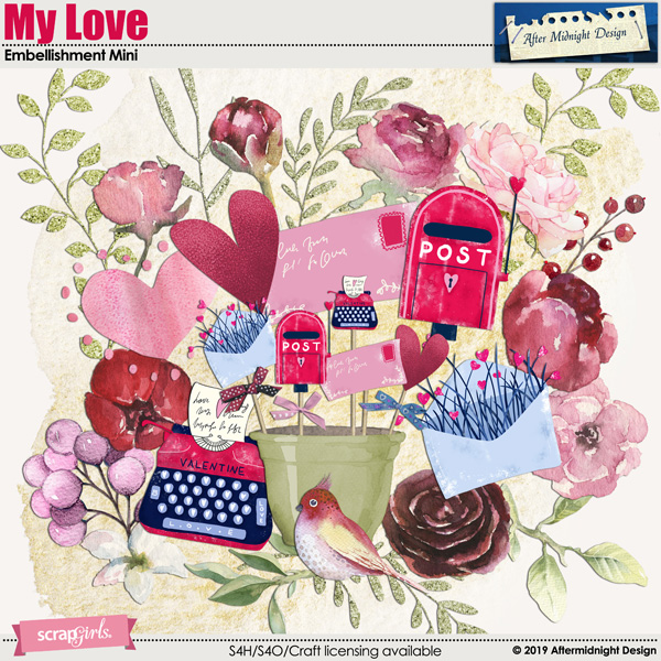 My Love Embellishment Mini by Aftermidnight Design