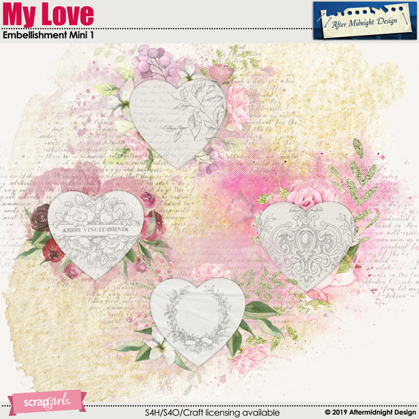 My Love Embellishment Mini 1 Decorations by Aftermidnight Design