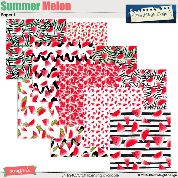 Summer Melon Papers 1 by Aftermidnight Design