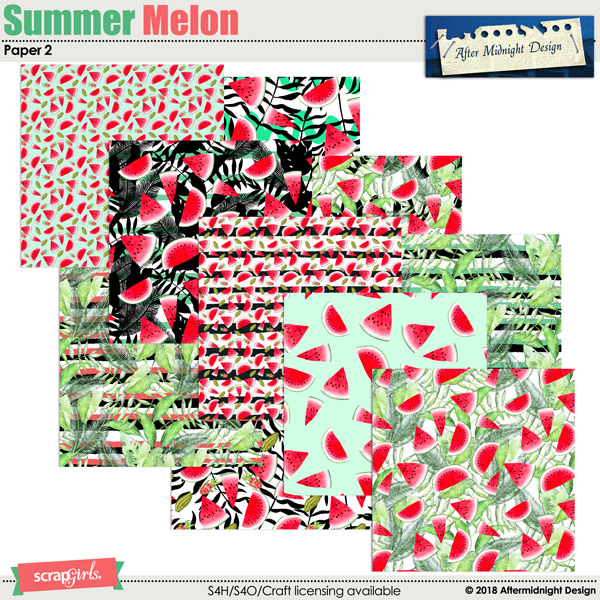 Summer Melon Papers 2 by Aftermidnight Design