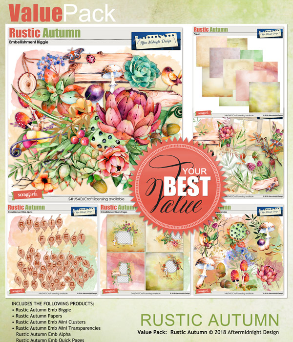 Rustic Autumn Value pack by Aftermidnight  Design