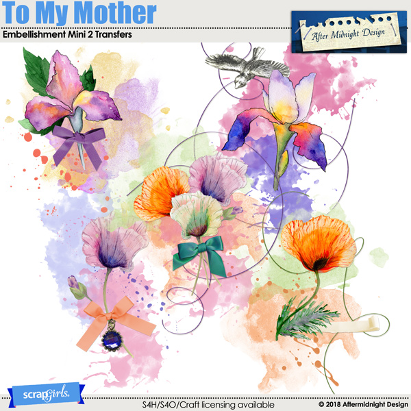 To My Mother Embellishment Mini 2 Transfers by Aftermidnight Design