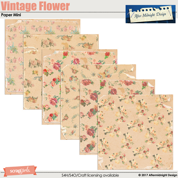 Vintage Flower Paper Mini by Aftermidnight Design