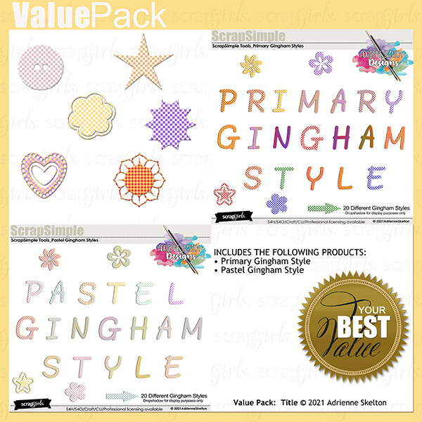 Primary and Pastel Gingham style value pack