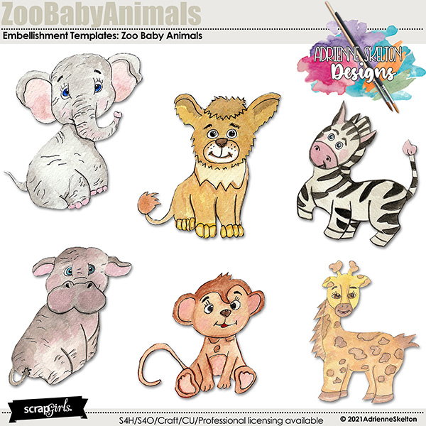 Hand Drawn and Water colored Baby Zoo Animals