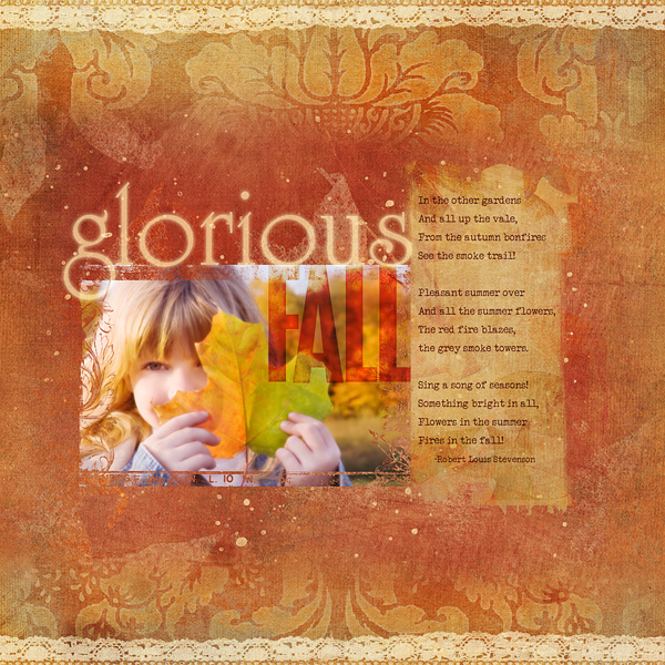 """Digital Scrapbooking Layout """"Glorious Fall"""" by Amanda S (see supply list with links below)"""