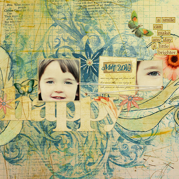 Happy layout using Antique Azure Collection Mini.