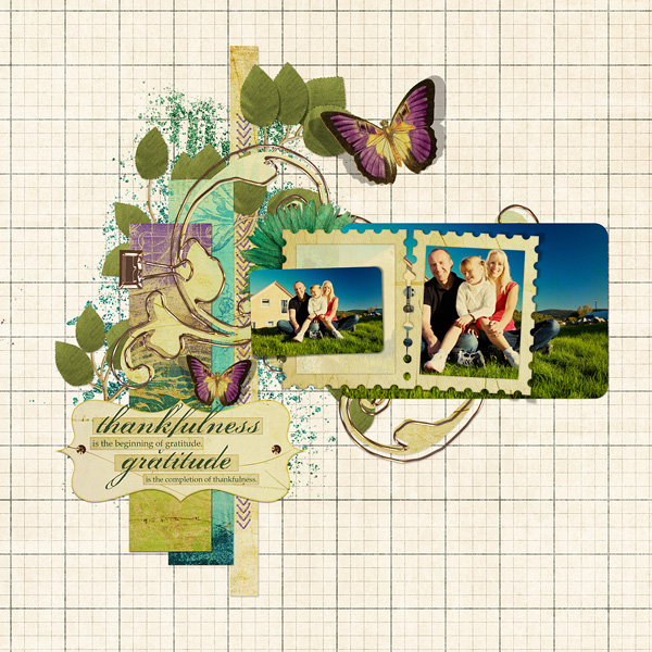 Thankfulness layout using Antique Violet Collection Mini