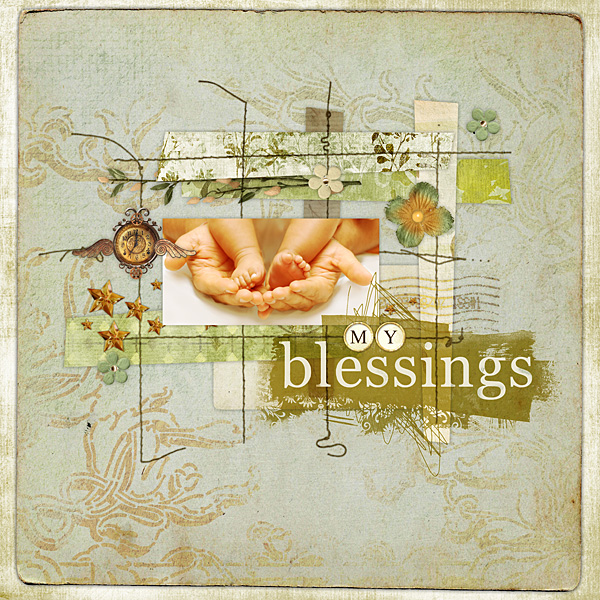"""Digital Scrapbooking Layout """"My Blessings"""" by Amanda S (see supply list with links below)"""