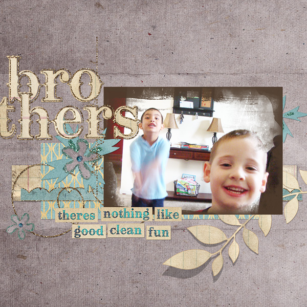 """Digital Scrapbooking Layout """"brothers"""" by Amanda S (see supply list with links below)"""