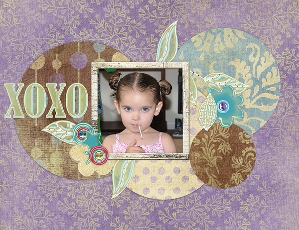 """Digital Scrapbooking Layout """"xoxo"""" by Amanda S (see supply list with links below)"""