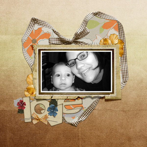 "Digital Scrapbooking Layout ""love"" by Amanda S (see supply list with links below)"