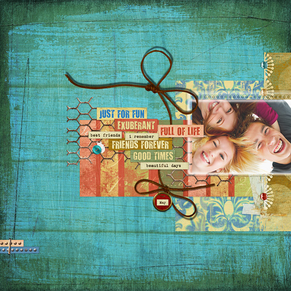 "Digital Scrapbooking Layout ""Friends Forever"" by Amanda S (see supply list with links below)"