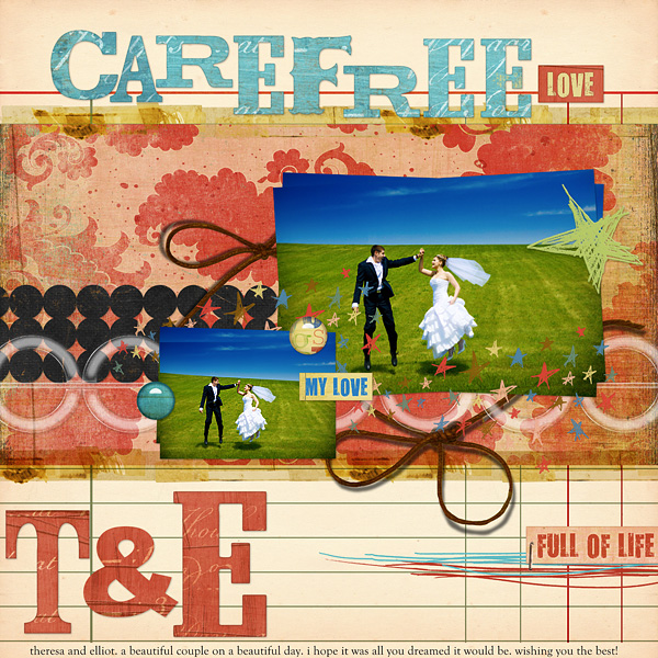 "Digital Scrapbooking Layout ""Carefree Love"" by Amanda S (see supply list with links below)"