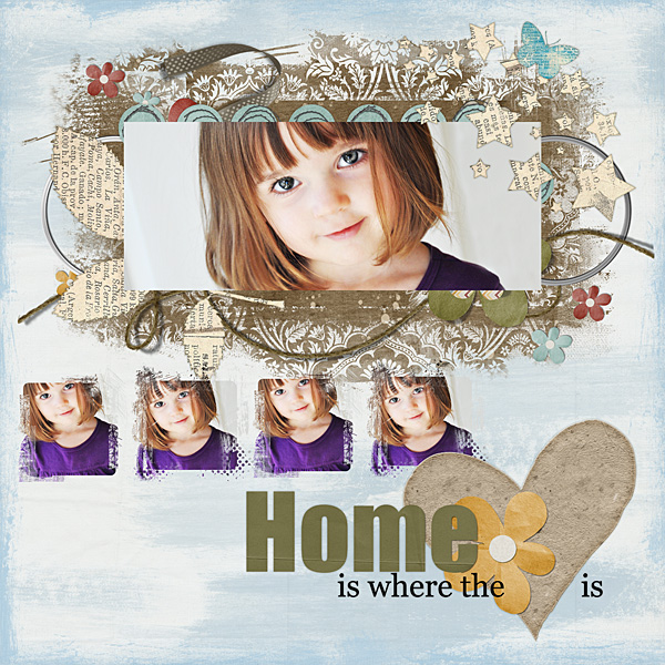 """Digital Scrapbooking Layout """"Home Is Where..."""" by Amanda S (see supply list with links below)"""