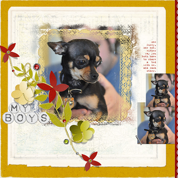 """Digital Scrapbooking Layout """"My Boys"""" by Amanda S (see supply list with links below)"""