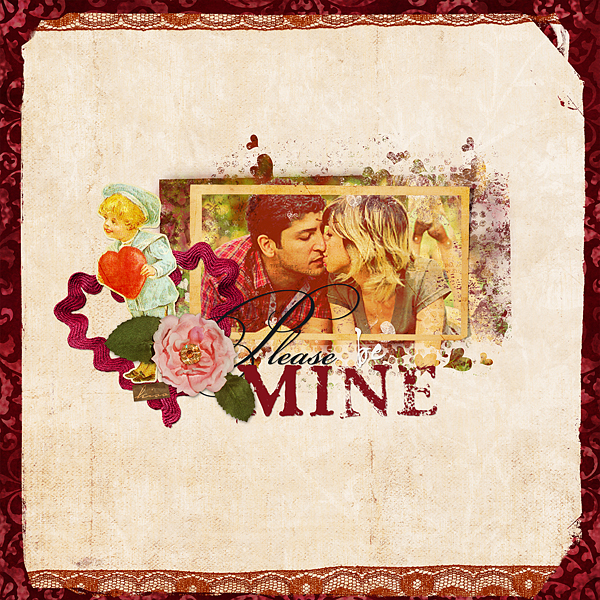 """Digital Scrapbooking Layout """"Be Mine"""" by Amanda S (see supply list with links below)"""