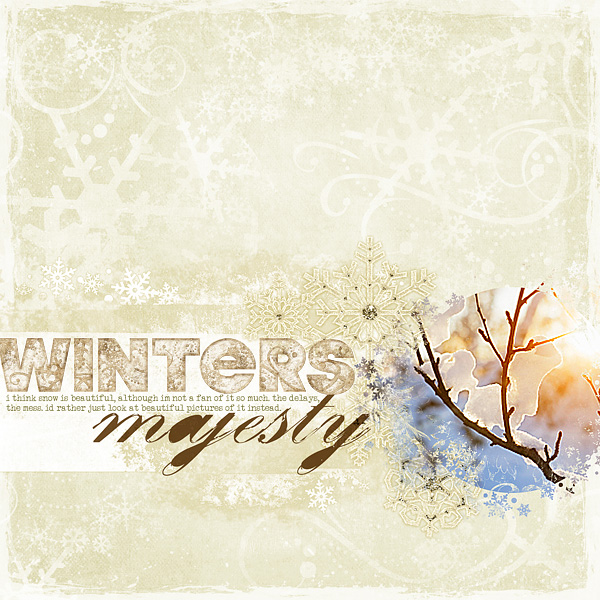 "Digital Scrapbooking Layout ""Winters Majesty"" by Amanda S (see supply list with links below)"