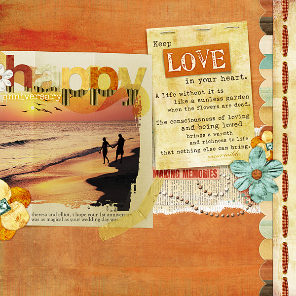 "Digital Scrapbooking Layout ""Happy Anniversary"" by Amanda S (see supply list with links below)"