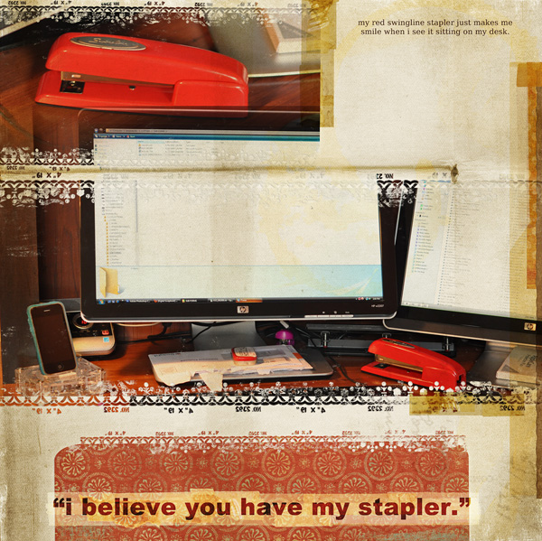 "Digital Scrapbooking Layout ""my stapler"" by Amanda S (see supply list with links below)"