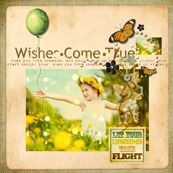 """Digital Scrapbooking Layout """"Wishes Come True"""" by Amanda S (see supply list with links below)"""
