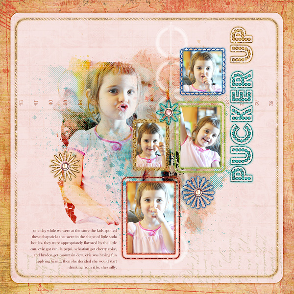 """Digital Scrapbooking Layout """"Pucker Up"""" by Amanda S (see supply list with links below)"""