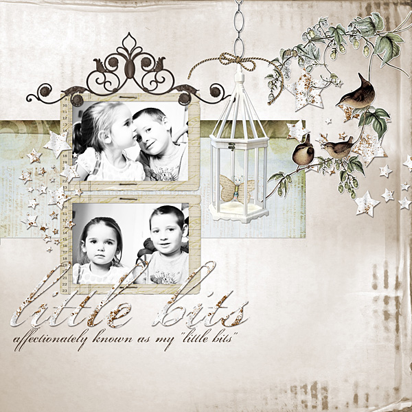 """Digital Scrapbooking Layout """"Little Bits"""" by Amanda S (see supply list with links below)"""