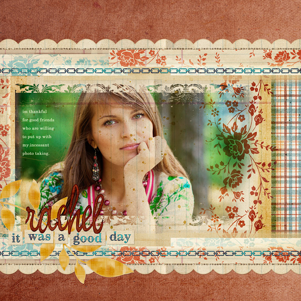 "Digital Scrapbooking Layout ""Rachel"" by Amanda S (see supply list with links below)"
