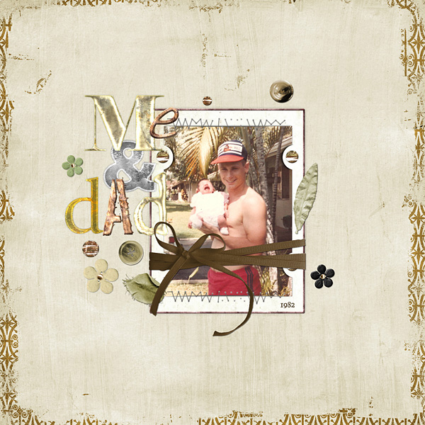"Digital Scrapbooking Layout ""Me and Dad"" by Amanda S (see supply list with links below)"